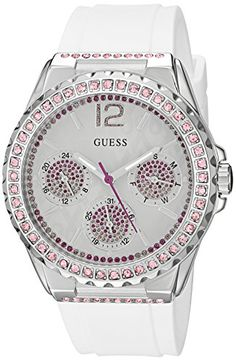 GUESS Womens U0032L6 Sporty SilverTone Watch with White Dial  CrystalAccented Bezel and Silicone Strap Buckle *** You can get more details by clicking on the image.