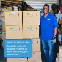 @TheBraRecyclers posted to Instagram: Johnny Mitchell, Jr., COO is standing by some of the thousands of bras that we receive and sort through on a weekly basis. Keep those bras coming! Thank you for your support! #brarecycling #brarecyclers #recycle #upcycle #donatebras #brarecyclingagency #thebrarecyclers #beboldforchange #womenforwomen #Lingerie #bras #ecofriendly #getbras #zerowaste #circulareconomy #bethechangeyouwanttoseeintheworld #socialgood #preloved #donations #blackownedbusiness