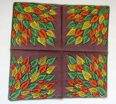 Vintage Faith Austin Handkerchief - Designer Signed Hankie Hanky - Brown Green Fall Autumn Leaves - Collectible Womens Fashion Accessories by shabbyshopgirls on Etsy