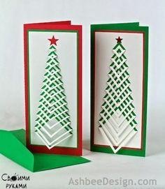 How to Make Christmas Postcard - DIY & Crafts - Handimania 3d Christmas, Homemade Christmas Cards, Christmas Tree Cards, Xmas Cards, Diy Cards, Homemade Cards, Handmade Christmas, Holiday Cards, Chevron Christmas