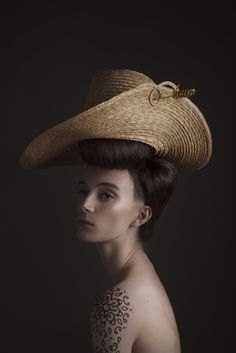 Straw, Hand woven straw, Brass hand-platted hat pin.  Photographer: Madame Peripetie