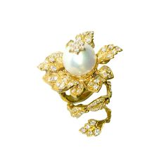 Pearl Diamond Gold Tremblé Ring image 3