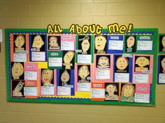 "I love these student self portraits for this ""All About Me"" bulletin board display."