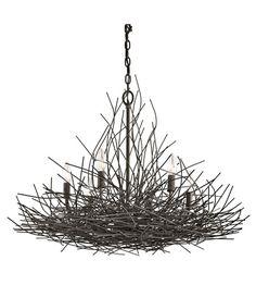 Kichler Organique 6 Light Chandelier 1 Tier Medium in Olde Bronze 42888OZ #kichler #lightingnewyork #undercabinetlighting #outdoorlighting #lighting