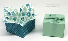 """Blooms & Bliss DSP, Envelope Punch Board, Mint Macaron 3/8"""" Sheer Linen Ribbon - Envelope Punch Board Box in a Flower"""