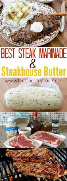 Best Steak Marinade and Steakhouse Butter recipes from The Country Cook and how to make the perfect steakhouse grilled steak with Kingsford Professional Briquet Perfect f. Grilled Steak Recipes, Grilled Meat, Grilling Recipes, Barbecue Recipes, Grilled Steaks, Vegetarian Grilling, Healthy Grilling, Grilled Vegetables, Vegetarian Food