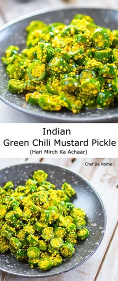 Indian Green Chili Pickle in mustard and lemons Chilli Pickle Recipe, Indian Pickle Recipe, Green Chilli Pickle, Pickles Recipe, Veg Recipes, Indian Food Recipes, Vegetarian Recipes, Cooking Recipes, Recipies
