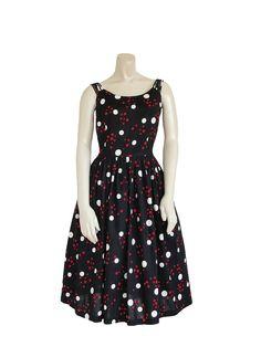 1950s Dress - 50s Polka Dot Party Day Dress - Black - Spring Summer M / L