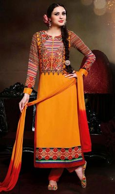 Look like a colorful butterfly in this gold color embroidered georgette salwar suit. The wonderful resham work a substantial feature of this attire. #NewDesignCasualSuit