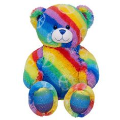Colorful peace bear from Build a Bear Workshop