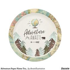 Adventure Paper Plates Travel World map Shower ♥ A perfect addition to your party! Fun baby shower invites - customize your invitations. Travel Baby Showers, Graduation Theme, Graduation Parties, Baby Shower Vintage, Travel Party, Personalized Note Cards, Travel Themes, Baby Shower Invitations, Birthday Invitations
