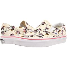 Vans Disney Classic Slip-On Minnie Mouse/Classic White) Skate Shoes,... ($43) ❤ liked on Polyvore featuring shoes, white, heart shoes, skate shoes, waffle shoes, white skate shoes and vans shoes