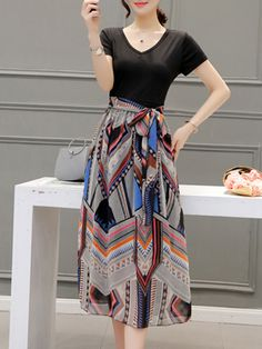 Buy V-Neck Belt Printed Polyester Maxi Dress online with cheap prices and  discover fashion c9291ca21