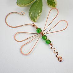 Dragonfly green ornament copper bead choice of green   SueRunyonDesigns - Seasonal on ArtFire