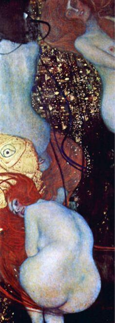 Reproduction de Klimt, Poisson rouge. Tableau peint à la main dans nos ateliers. Peinture à l'huile sur toile.