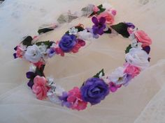 Roses Flower Crown Purple Pink White Rose by BunniesMadeOfBread