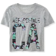 Aero CA Floral Crop Tee (88 NOK) ❤ liked on Polyvore featuring tops, t-shirts, light heather grey, beach crop top, crop top, beach t shirts, floral top e cotton crop top