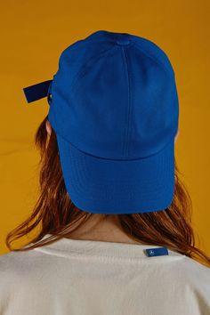 A belted cap in blue  www.adererror.com  #ader #fashion #brand #cap #blue