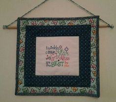 Emroidered quilt block in wall hanging by Elizann.