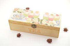 Cupcake tea box, decoupage tea box, wooden tea box, wooden box, tea box, decoupage box, shabby chic box, home decoration, cupcake tea box by PastimeArt on Etsy