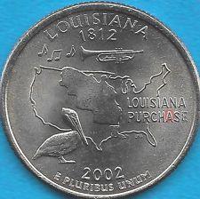 2002 P - LOUISIANA - STATE QUARTER ERROR COIN - REV DIE CHIP - OBV DIE CRACK