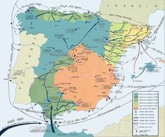 The Spanish Civil War - Military Conflict Development ( in Spanish- Translator Option available) European History, World History, Art History, Spain History, Spanish War, Spain Culture, Historia Universal, Historical Maps, Vintage Maps