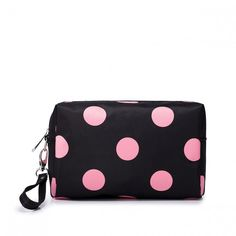 Cosmetic Bag With Pink Polka Dot
