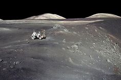 An image of the Apollo 17 astronauts and the moon buggy on the edge of Shorty Crater in 1972.