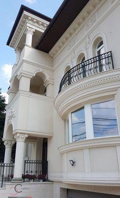 Proiect Casa Rezidentiala zona Podul Grant, Bucuresti – Profile Decorative Facade Design, House Design, Classic House Exterior, Design Case, Louvre, Interior Designing, Mansions, Architecture, House Styles