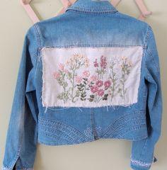 Upcycled Redesigned Denim Jacket  Flora by ThreadbarePrincess, $120.00
