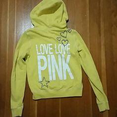 Yellow Zip Up Hoodie Yellow Zip Up Hoodie from PINK. Size small. Gently worn. No stains. PINK Victoria's Secret Tops Sweatshirts & Hoodies
