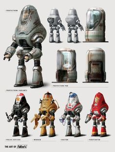 """""""Fallout Protectron models and pods. Fallout Art, Fallout Props, Fallout Concept Art, Fallout New Vegas, Game Concept Art, Fallout Weapons, Fallout Theme, Fallout Tattoo, Fallout Posters"""