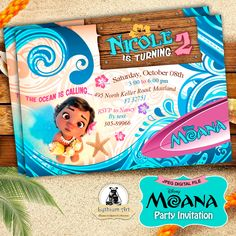 Moana Invitation - Moana Party Invitation - Moana Birthday Party - Disney Moana - Moana Printables - Custom Invitation - Disney Princess de LythiumArt en Etsy