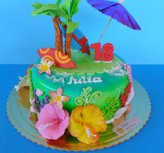 Tartas Artisticas.: TARTA FONDANT HAWAIANA
