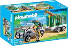Amazon.com: PLAYMOBIL Zoo Vehicle with Trailer: Toys & Games