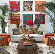 Beautiful scarves used as art on the wall - So creative!
