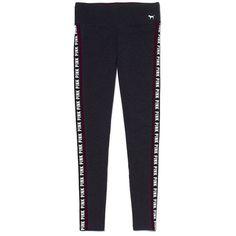 Logo Stripe Yoga Legging PINK ($41) ❤ liked on Polyvore featuring activewear, activewear pants, pants, yoga activewear, victoria's secret, logo sportswear, victoria secret sportswear and victoria secret activewear
