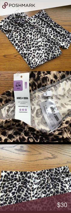 NWT Agnes and Dora size S/M animal print leggings! NWT Agnes and Dora size S/M animal print leggings! Size S/M best fits sizes 4-12 according to the A&G site. Elastic waist. Super soft and great brand (brand was started by the niece of the founder of Lularoe). I don't trade. Reasonable offers welcome. Thanks! 😊 Agnes and Dora Pants Leggings