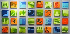 """Holiday - ceramic wall art of 32 8""""x8"""" hand-cast and hand-glazed ceramic tiles by JasonMessingerArt"""