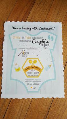Bee theme invitation. Baby boy