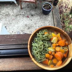 @miraclenoodle spinach shrataki pasta in #bonebroth with carrots and zucchini #paleo #pho #nourishingtraditions #gaps #lowcarb by ajfrye