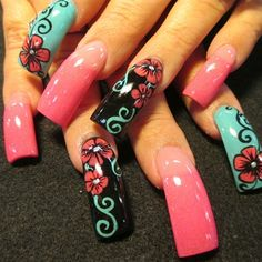 Pink and teal flowers by Oli123 - Nail Art Gallery nailartgallery.nailsmag.com by Nails Magazine www.nailsmag.com #nailart