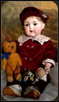 Lovely Antique Boy Doll With His Bear pieces) Antique Dolls, Vintage Dolls, Marionette, Half Dolls, Polymer Clay Dolls, China Dolls, Bisque Doll, Doll Maker, Boy Doll