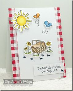 Every Day Is a Picnic stamp set and Die-namics, Gingham Background - Barbara Anders #mftstamps
