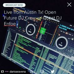 #Repost @darioaravena with @repostapp.  We're going live on #periscope. Open Future w/ Guest DJ @enfoe of the @txscratchleague! #turntablism #clubmusic #hiphop #bassmusic follow me at @darioaravena! by enfoe