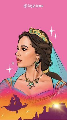 Fondo de pantalla de la Princesa Jasmine - Aladdin Live Action. Ilustrado por Jorge Serrano / Disney Wallpaper Disney Characters, Fictional Characters, Disney Princess, Drawings, Instagram, Pretty, Jasmine, Art, Backgrounds