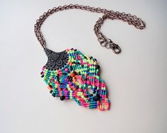 Micro macrame necklace Bright Rainbow Black by MartaJewelry