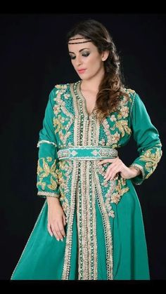 Caftan Vert 2015 - Robe Marocaine pas Cher | Caftan Marocain Boutique