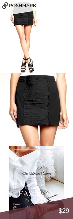 HP🏆 SIZE 14 Gap Ribbon Trim Mini 🏆WARDROBE GOALS HOST PICK 1/17🏆       You can NEVER go worn with a mini...Show off those gorgeous steams! In this Gap front ribbon trim mini skirt. Shell 49% Rayon, 47% Polyester, 4% Spandex. Fully lined 100% polyester. Machine wash.   Black ribbon detail. In perfect retail condition with tag. NWT Tags attached • Image #3 actual item. Thank you for your interest, lmk if you have any questions!🥂 GAP Skirts Mini