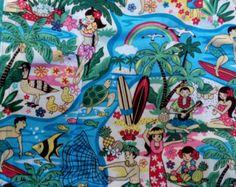 Apron-Handmade, Full Style, Aqua Batik, Hawaiian Tropical Luau Beach Party…